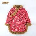 Новый Осень Зима Дети Печати Платье Для Девочки Китайский Стиль Птицы Печатных Девушки Cheongsam Новый Год Дети Толстая Одежда