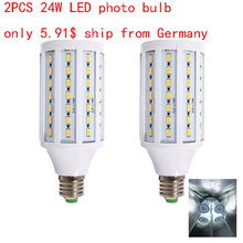 2PCS 24w Photo Bulb Photography LED Corn for Photo Studio Light 6000k White color Video light Photo softbox kit lighting(China)