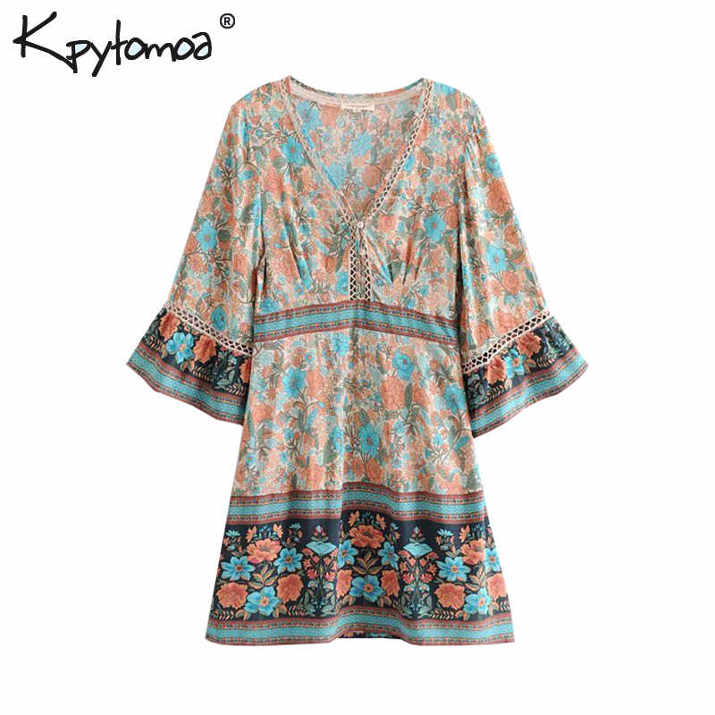 571f00b9bb02e Boho Chic Vintage Floral Print Patchwork Mini Dress Women 2019 Fashion V  Neck Kimono Sleeve Summer Beach Dresses Femme Vestidos