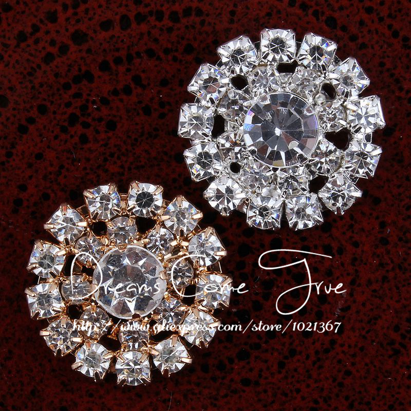 Round Clear Rhinestone Metal Buttons  Embellishment button