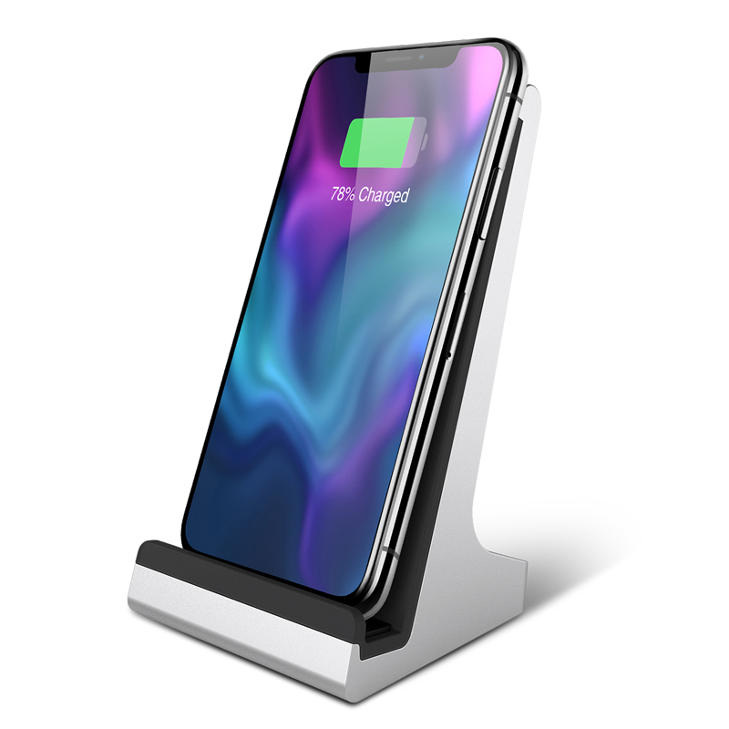 Bestand 2 coil QI Wireless Charging Dock Charger Stand for iPhone 8 X 8 Plus and All Qi Enabled Phones Aluminium Alloy in Phone Holders Stands from Cellphones Telecommunications
