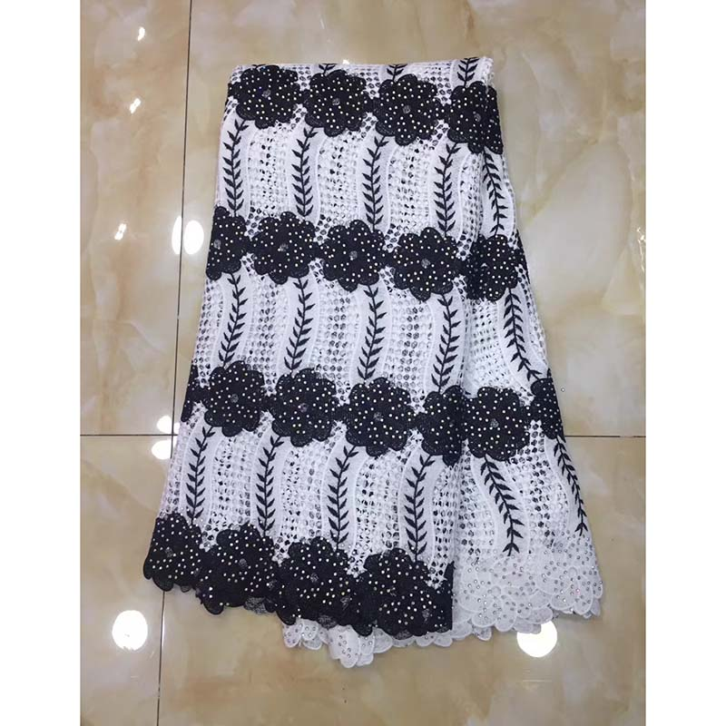 Black White Latest African Lace Fabric Swiss Voile Lace 2018 High Quality Emboridery French Cotton Lace