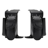For Touring Road King FLTRX Electra Glide Motorcycle Saddle bag Guard Crash Bar Bag with Water Bottle Holder Pu Leather