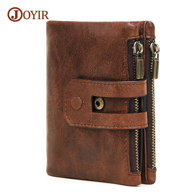 JOYIR Wallet Male Genuine Leather Vintage RFID Short Men Wallets Card Holder Small Coin Purse Men's Purse Male Wallet carteras westal genuine leather men wallets leather man short wallet vintage man purse male wallet men s small wallets card holder 8866