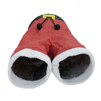 Nueva Navidad gato canciones Santa Claus Pantalones diseño plegable interactivo Juguetes 3 lindo gato túneles para gatitos medio largo rojo juguetes