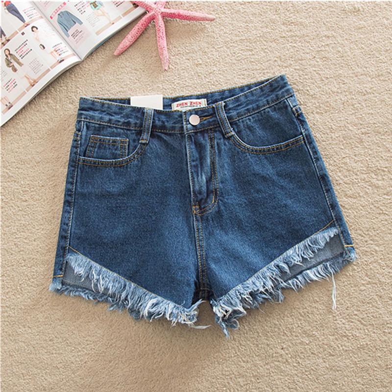 High Waist Denim Shorts For Women Casual Blue Cotton Short Jeans 2017 Summer Design Femme Short Trousers 4 Colors new summer thin fashion blue denim shorts jeans male straight knee length trousers men lightweight short jeans for teenager