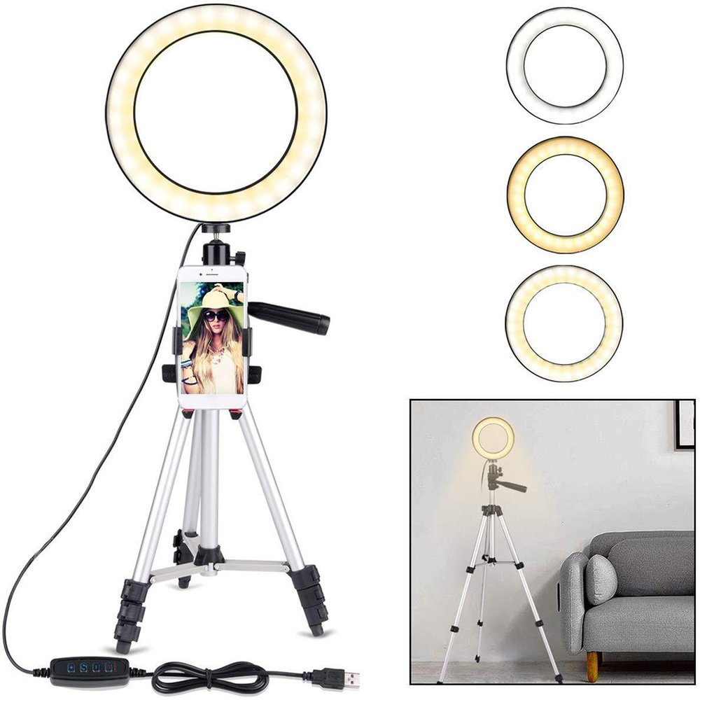 Photography Dimmable LED Selfie Ring Light Youtube Video Live Photo Studio Light With Adjustable Phone Holder USB Plug Tripod