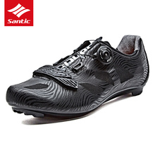 Santic Men Cycling Road Shoes PRO Bike Road Shoes Self-Locking Breathable Athletic Downhill Bicycle Shoes Sapatilha Ciclismo