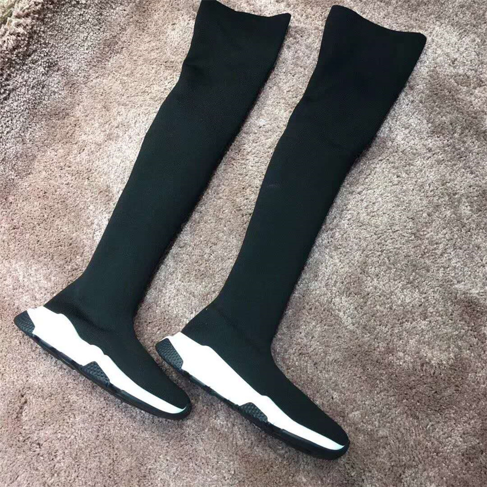 Stkehidba New Women Sock Boots Stretch Fabric Shoes Slip On Over the Knee Boots Women Pumps