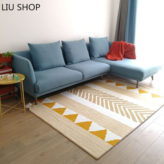 LIU Nordic Minimalist Carpet Living Room Bedroom Bedside Mat Printing  Washable Japanese Style Ground Tapetes Cushion