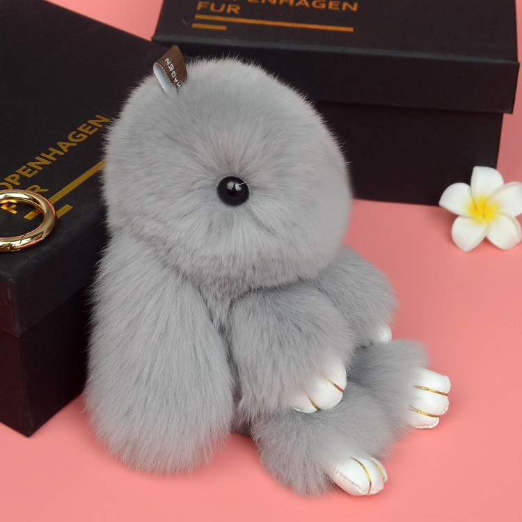 14cm Cute Pluff Bunny Keychain Rex Genuine Rabbit Fur Key Chains For Women Bag Toys Doll Fluffy Pom Pom Lovely Pompom Keyring 6