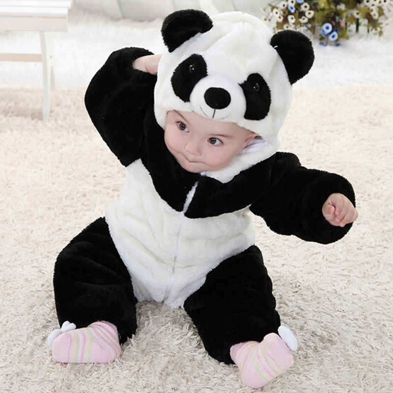 2018 комбинезоны для новорожденных мальчиков и девочек, цельные комбинезоны с длинными рукавами и рисунком панды, популярные зимние детские хлопковые комбинезоны