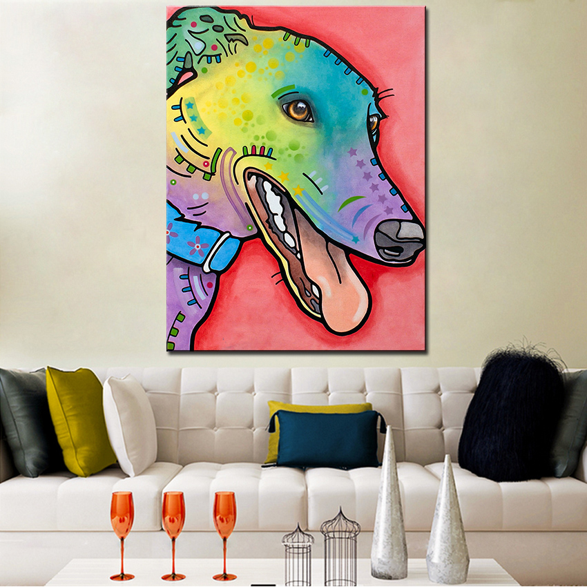 Large size Print Oil Painting Wall painting Graceful Greyhound Home Decorative Wall Art Picture For Living Room paintng No Frame