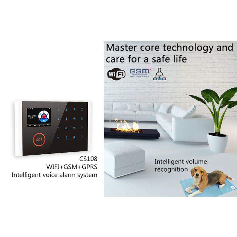 1 ensemble CS108 sans fil WIFI GSM GPRS système d'alarme intelligent APP télécommande RFID carte Kit de sécurité à domicile avec écran SOS bouton - 3