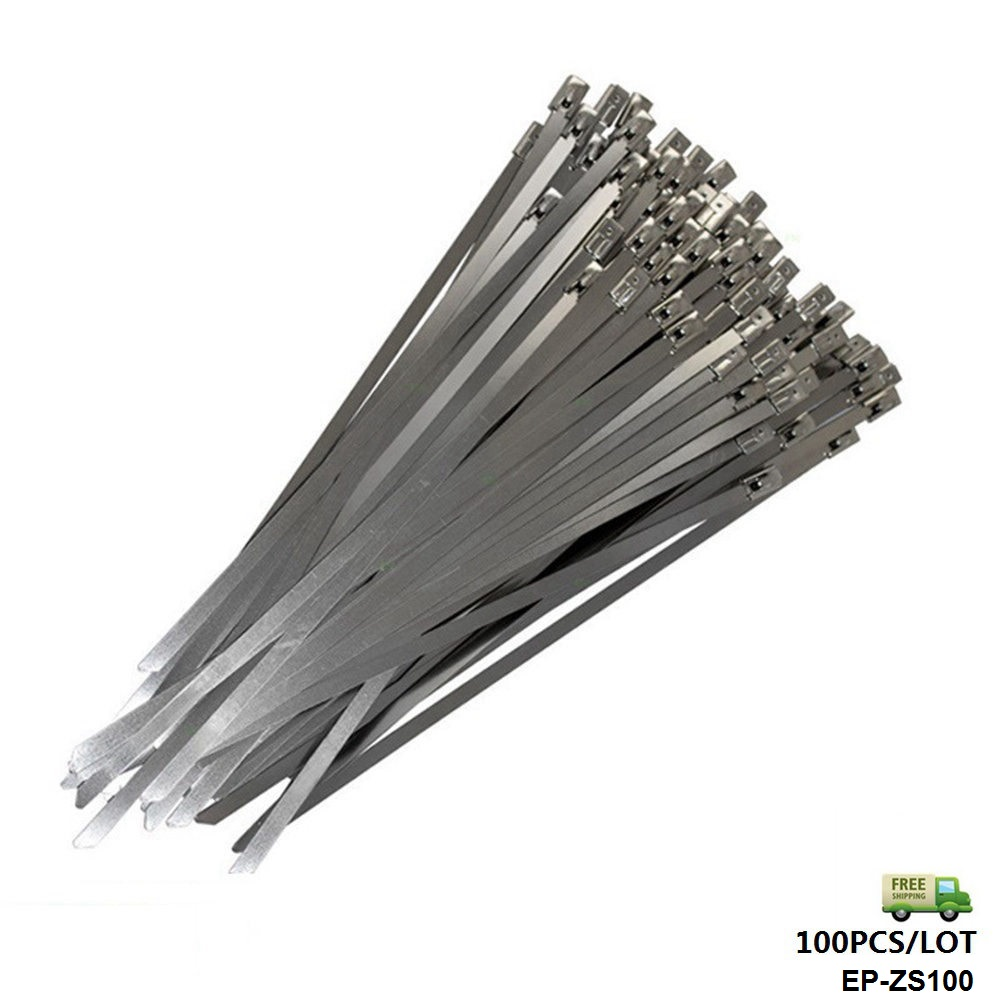 100x Stainless Steel Metal Cable Ties Zip Straps Exhaust Heat Wrap 4.6mm X 300mm EP-ZS100-FS