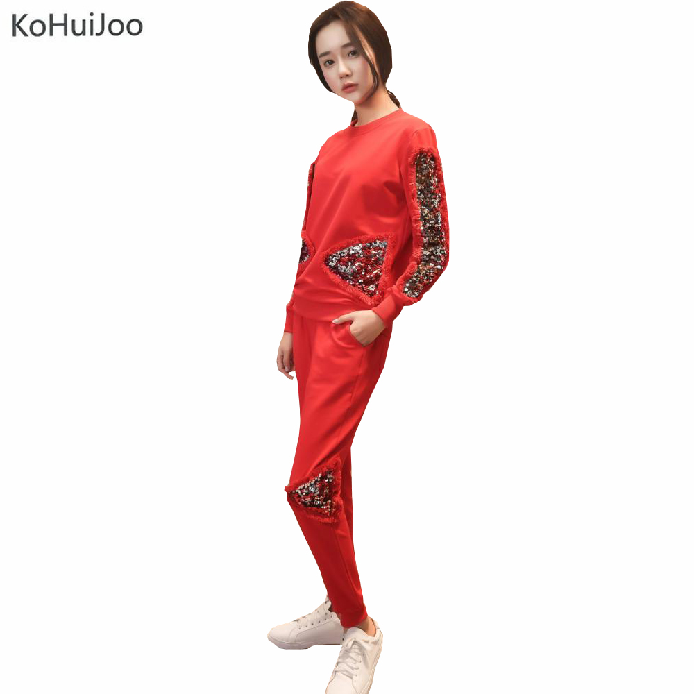 KoHuiJoo Autumn Winter Female Tracksuit Set Fashion Sequined Patchwork Sporting Sweatpants Hoodies Set 2 Pieces Pants Sets Gray