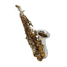 Пользовательские B плоский саксофон маленький изогнутый саксофон сопрано посеребренный корпус золотой ключ