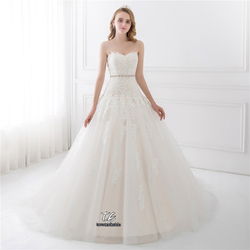 Sweetheart Light Champagne Lace Applique Wedding Dress With Color Beading Sash Bridal Gowns In Stock Robe De Mariage 5