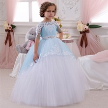 Charming Ice Blue Puffy Flower Girl Dresses for First Communion Gown Girls Birthday Party Dress for Weddings Kids Prom Dres