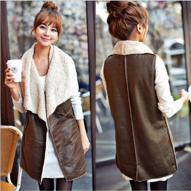 Hot Sale 2016 Winter Women Lady Leisure Fashion Warm Faux Fur Collar Vest Long Leather Waistcoat Coat Outerwear Brown