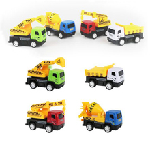 4 Pcs/set Alloy Engineering Car Toys Diecast Pull Back Excavator Forklift Crane Simulation Model Educational Toy Gift for Kids 1 50 high simulation alloy crawler crane truck toy car mini diecast engineering crane car model for children enduction toys gift