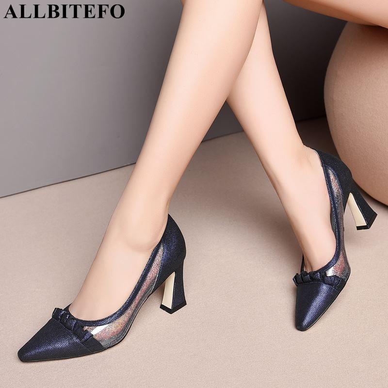 ALLBITEFO fashion bowtie genuine leather net sexy high heels women shoes high quality women high heel