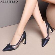 ALLBITEFO fashion bowtie genuine leather+net sexy high heels women shoes high quality women high heel shoes party women heels