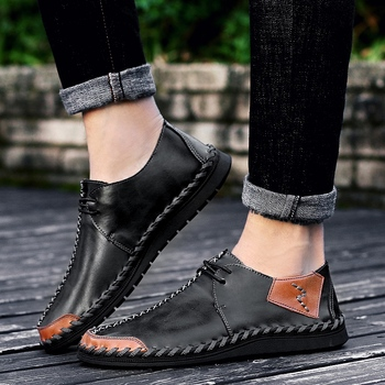 Men Lazy Flats 2018 Autumn Fashion Youth Flat Comfortable Driving Shoes Mens Genuine Leather Casual Shoes Outdoor Daily Shoes