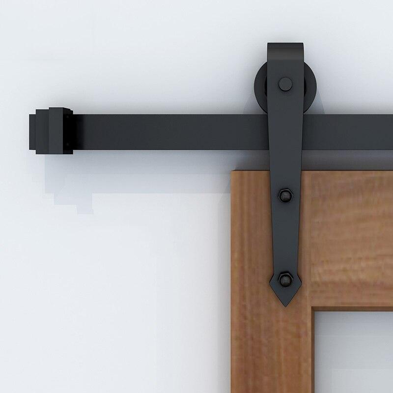 1200mm - 2930mm Country Style Wood Sliding Barn Door Hardware Arrow Shaped Track Roller Closet Hardware For Single Door