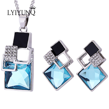 Brand Square Geometry Pandent Necklace Stud Earrings Crystal Magic Space Jewelry Set 2