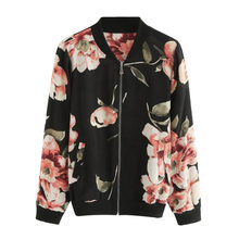 KANCOOLD 2018 Autumn Coat Women Fashion Retro Floral Print Zipper Bomber Jacket Casual Lady Outwear Long Sleeves Tops PJ0724(China)