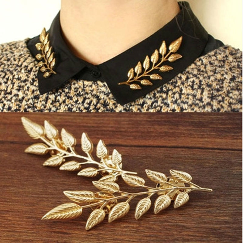 New fashion brooch pins Leaves collar tips gold-color lapel pins collar pin up harajuku Jewelry hijab pins broches mujer JD156