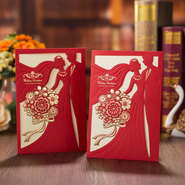 Laser Cut Bride And Groom Wedding Invitation Card Vintage Elegant Red Wedding Invitations China Carte Invitation Mariage 50pcs