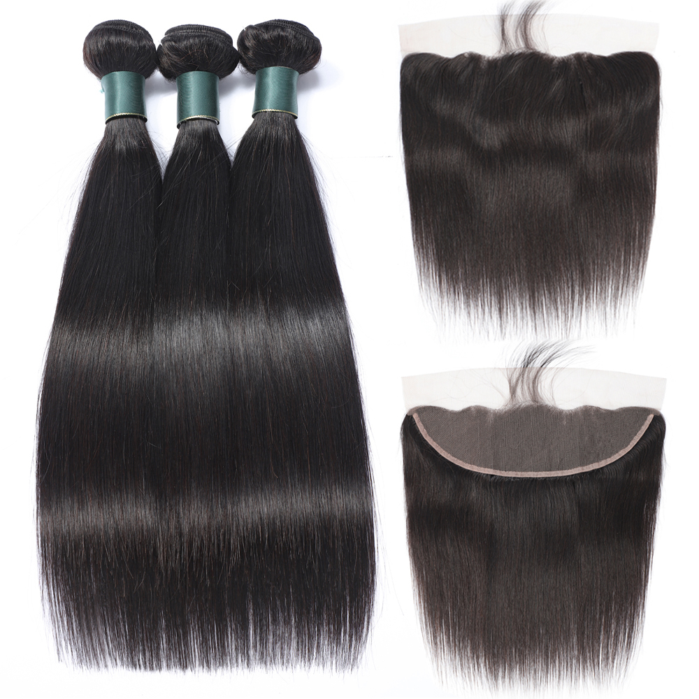 Peruvian Straight Hair Bundles With Frontal Closure Non Remy Human Hair Bundles With Frontal 13x4 Lace