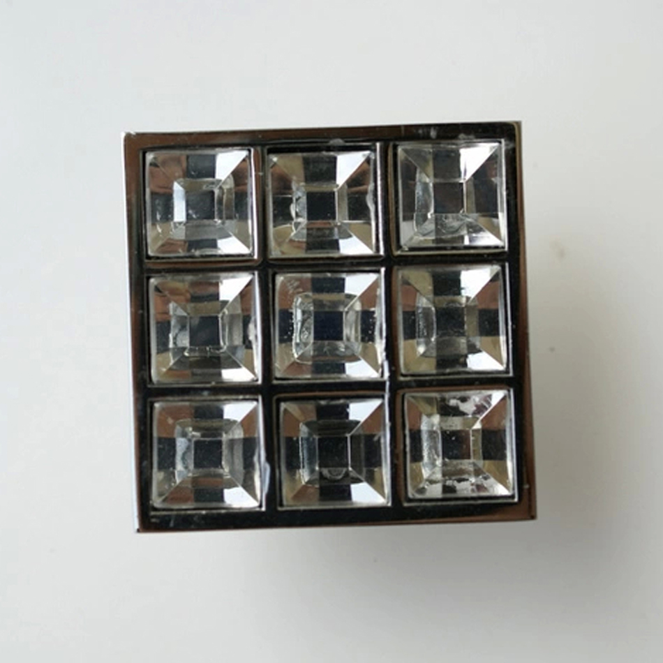 8pcs square 16mm cc crystal handles furniture glass cabinet knobs handles door knob dressers Glass furniture pulls