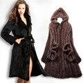 Естественная мех норки зима пальто женщины в длинная - рукав трикотаж норка пальто большой размер 4XL