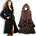 New Natural Mink Fur Winter Coat Women's Long-sleeve Top Fashion All-match Knitted Mink Coat big size 4XL Free shipping