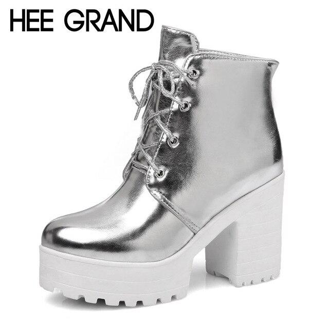 HEE grande Prata Ouro Mulheres Botas de Couro de Salto Alto Patente Sexy Ankle Boots Sapatos de Plataforma Mulher Trepadeiras Tamanho 35-43 XWX4171