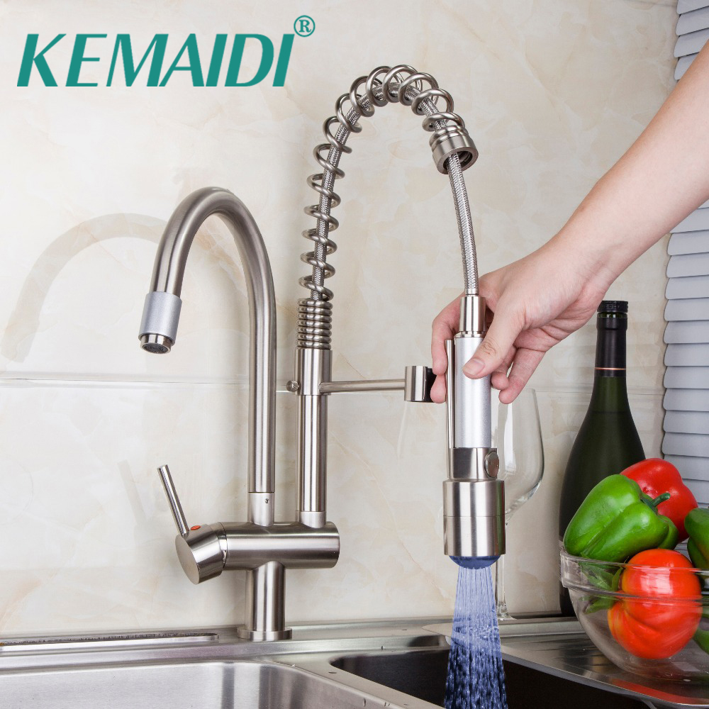 Здесь можно купить  KEMAIDI Classic  Kitchen Faucet Pull Out Spray Tap And Swivel Brushed Nickel Finished LED With 3 Color Deck Mounted Mixer  Строительство и Недвижимость