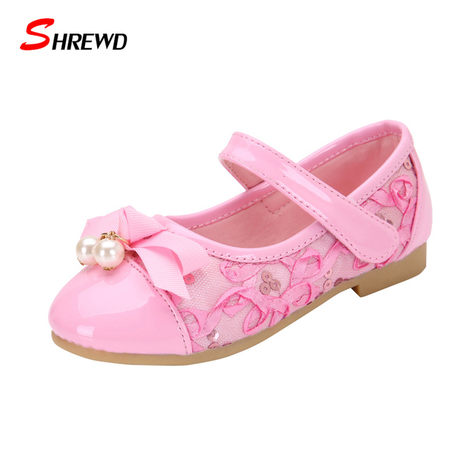 Shoes Children Girls Spring New 2017 Fashion Bow Lace Pearl  Girls Leather Shoes Cute Solid Kids Shoes Insole 15.8-18cm 9554W
