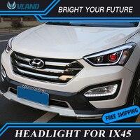 Автомобильный светодиодный налобный фонарь для hyundai Santa Fe IX45 светодиодный фары DRL Bi Xenon объектива парковки противотуманная фара Светодиодны