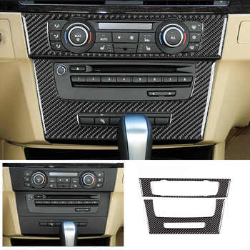 Carbon Fiber Car Interior Center Control CD Panel Frame Cover Sticker Trim For BMW 3 Series E90 E92 E93 2005 - 2010 2011 2012 4pcs real carbon fiber interior window door panel trim cover inner sticker strip for audi a4 b8 a5 2010 2011 2012 2013 2016