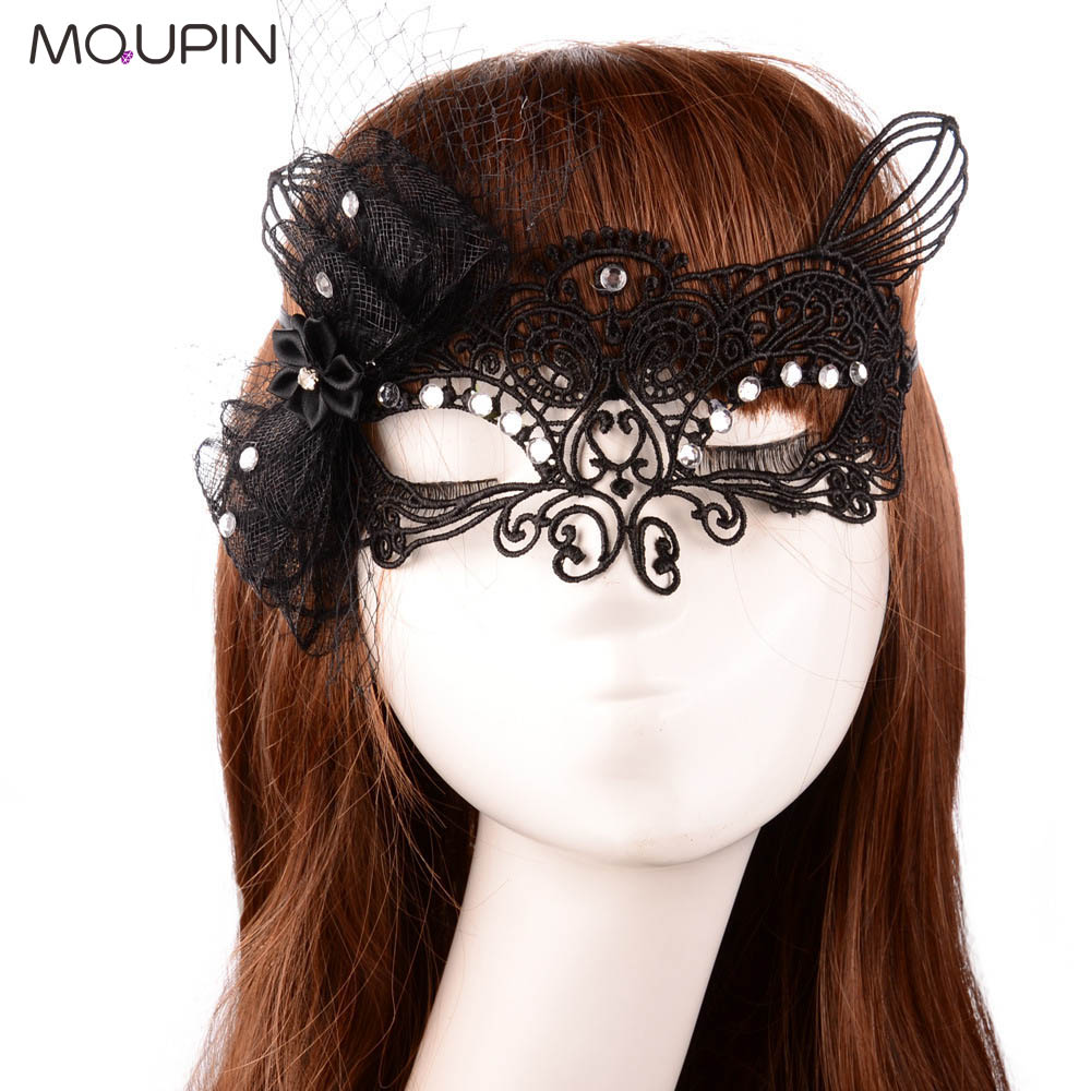 MQUPIN Erotic Nightclub Bar Lace Makeup Half Mask Openwork Lace Veil Mask Sexy Goggles Princess Party Cosplay Adult Toy