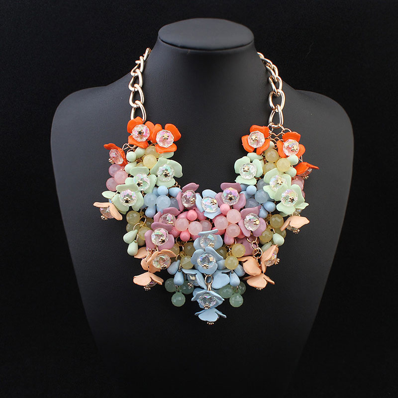 Bohemia Maxi flower choker necklace 2018 Big statement necklace jewelry Luxurious Color Rhinestone necklace for women accessorie