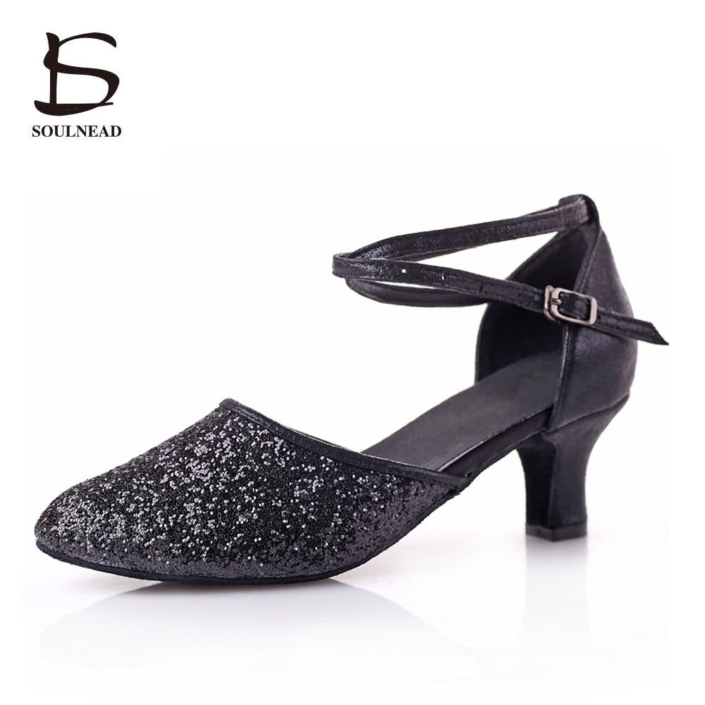 Voksen Latin Dance Sko Black Sequins Dansesko For Women Salsa Tango Tap Dance Sko Myk Sole Ladies Ballroom Dance Shoes