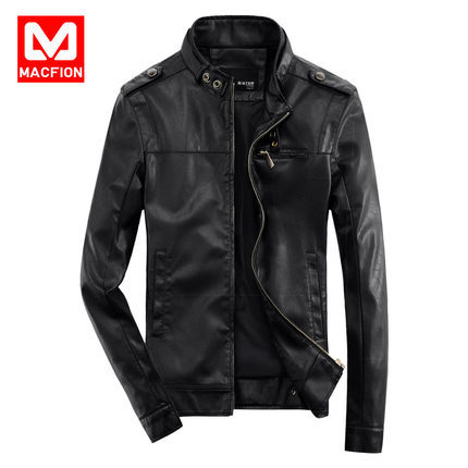 Macfion Male leather clothing 2016 slim men's PU clothing design stand collar short motorcycle male leather jacket outerwear