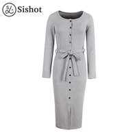 Sishot Women Casual Dresses 2017 Autumn Lace Up Burgundy Mid Calf O Neck Fall Black Sexy