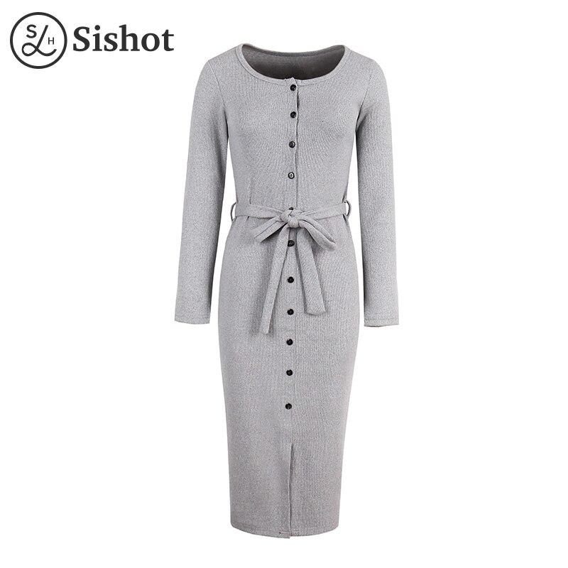 Sishot women casual dresses 2017 autumn lace up burgundy mid calf o neck fall black sexy