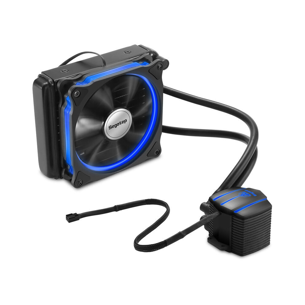 Segotep Liquid Freezer Water Ice Cooling System CPU Cooler PC Computer Cooler Fluid Dynamic Bearing 120mm Fan Blue LED Light flow scout meter with led light and pointer thermometer for water liquid cooler system cpu with fitting