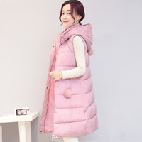 Solid collar hooded winter women vest with fur ball long autumn cotton padded womens waistcoat large yards colete 2017 fashion